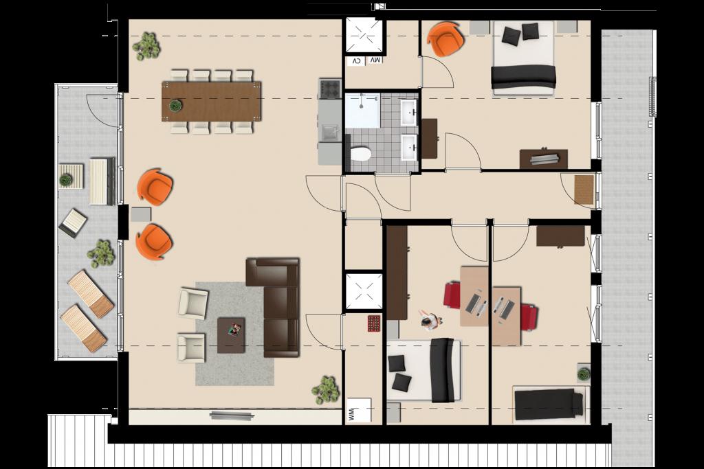Van een huis naar een appartement kees verhouden meubelen for Kamer inrichten plattegrond