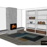 Ontwerp wandkast lak met notenhout CASE collectie
