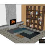 Ontwerp wandkast open vakken notenhout CASE collectie